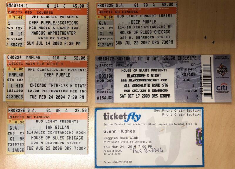 6 Deep Purple & Family Genuine Used Ticket Stubs