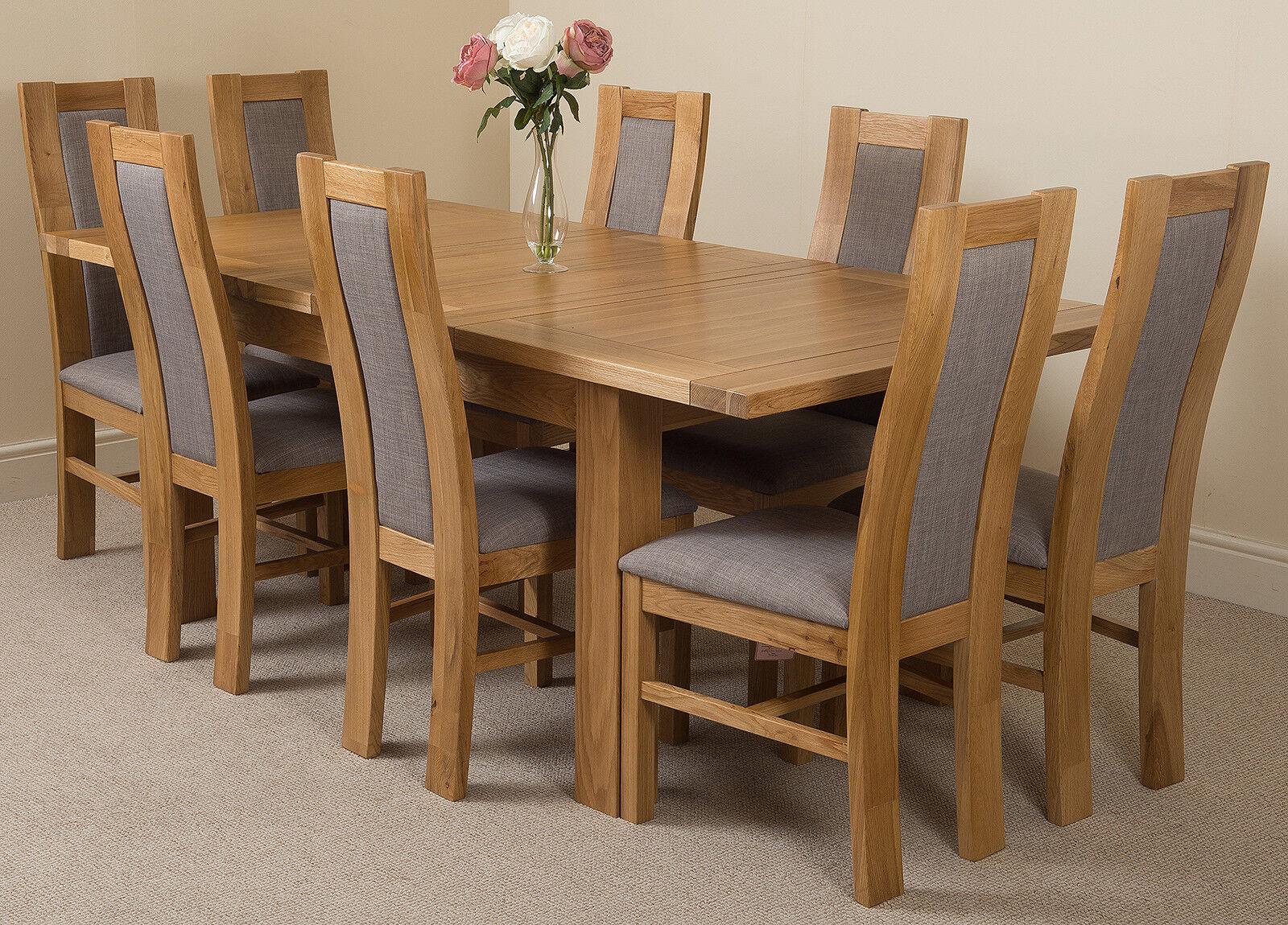 Seattle 150 210cm Extendable Oak Dining Table W 4 6 Or 8 Stanford Oak Chairs Ebay