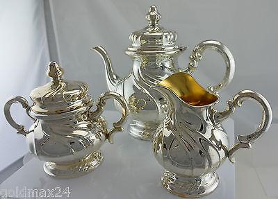 Teekanne mit Milch & Zuckerkännchen / 835er Silber