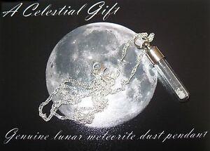 Meteorite Genuine MOON dust silver necklace pendant vial jewellery nice