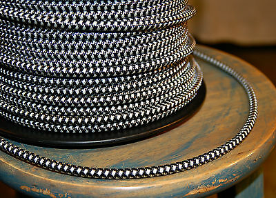 Black & White Houndstooth Cloth Covered 3-Wire Round Cord, Vintage Lamp Pendants