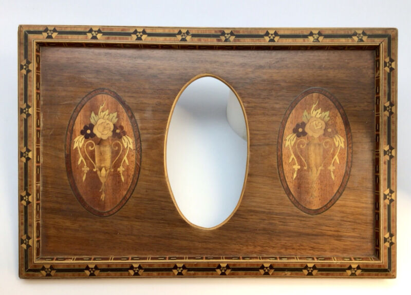 Antique Fancy Inlaid Floral Wood Oval Frame