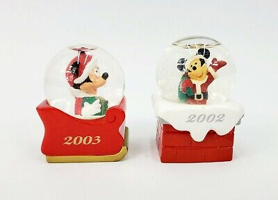 Two Miniature Mickey Mouse Christmas Snowglobes Dated 2002/2003