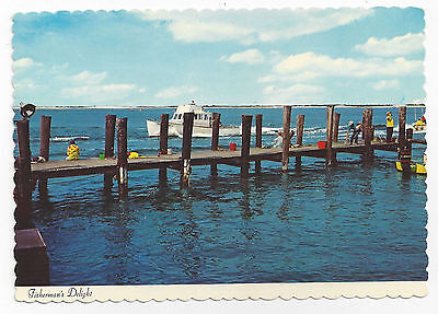 New Jersey Shore Fishing Pier Boat Fishermen Vintage Postcard 4X6 Thulin Photo