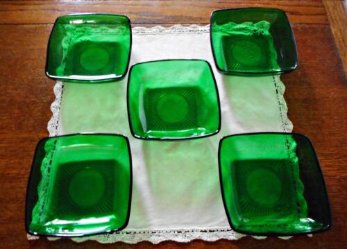 """LOT OF 5 ANCHOR HOCKING FOREST GREEN CHARM 6"""" SOUP BOWLS"""