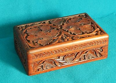 Vintage Hand Carved Wooden Jewelry Trinket Box India