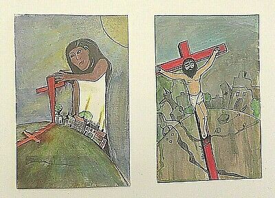 Pair Original Religious Multimedia Art Jesus Cross Signed J. Ward 5 1/2 X 8 1/2