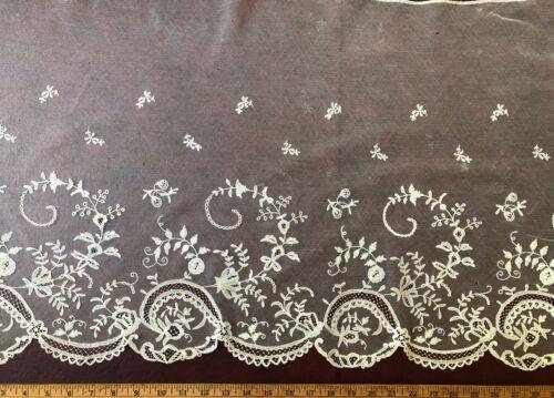 Early 19th C. Brussels bobbin lace applique bonnet veil  COSTUME COLLECT