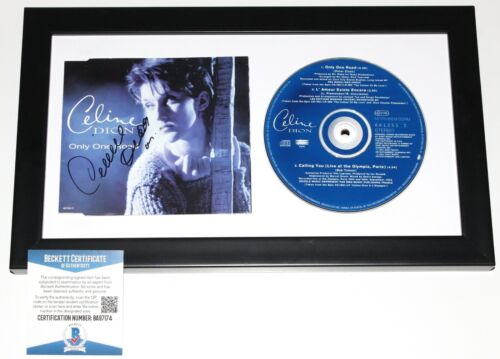 CELINE DION SIGNED FRAMED 'ONLY ONE ROAD' CD COVER BOOKLET BECKETT COA BAS PROOF