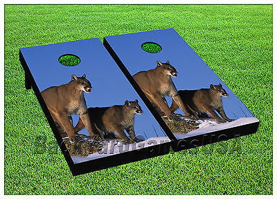 - Puma Animals Wildlife CORNHOLE BEANBAG TOSS GAME w Bags Game Boards Set 1009