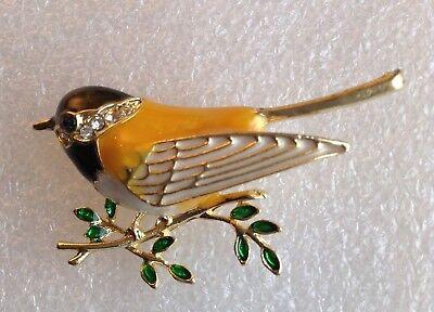 Little Bird Pin - BETSEY JOHNSON LITTLE BIRD BROOCH PIN Colorful Enamel w/Inlay Crystals (yellow)