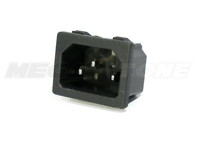 1 Pc 15a250vac Iec320 C14 Panel Mount Snap-in Male Plug Connector Usa Seller