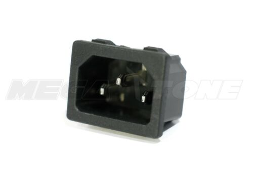 (1 PC) 15A/250VAC IEC320 C14 Panel Mount Snap-In Male Plug Connector USA SELLER!