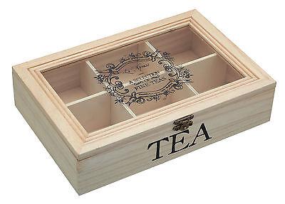 KITCHEN CRAFT WOODEN TEA BOX TEA SACHET / BAG CADDY CHEST STORAGE