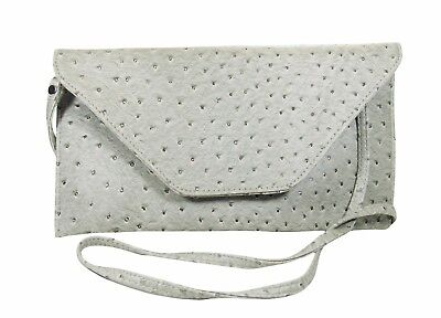 (GRAY/SILVER FAUX OSTRICH LEATHER ENVELOPE CLUTCH shoulder bag, cross over)