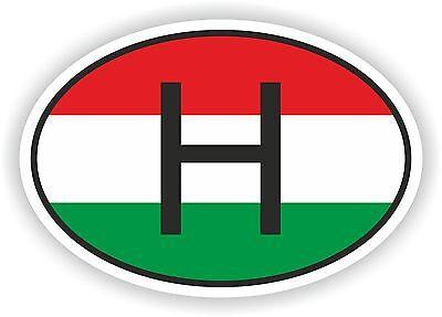 Oval Flagge mit H Ungarn Land Code Auto Aufkleber Motorrad Auto Lkw Laptop ()