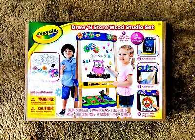 Crayola Kids Draw'n Store Wood Easel Studio Set,4 ways to play,double side easel