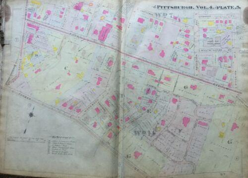 1911 SHADYSIDE PITTSBURGH PA RODEF SHALOM HARTER MORELAND SUNNYLEDGE ATLAS MAP