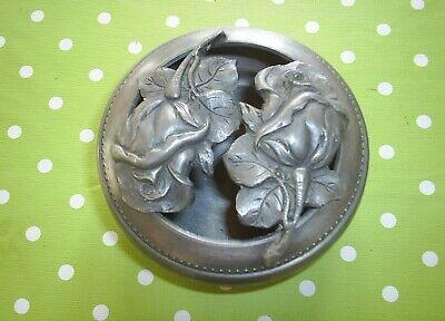 Vintage French Rose Handmade Pewter Lidded Bowl Potpourri 97% Étain Fait Main