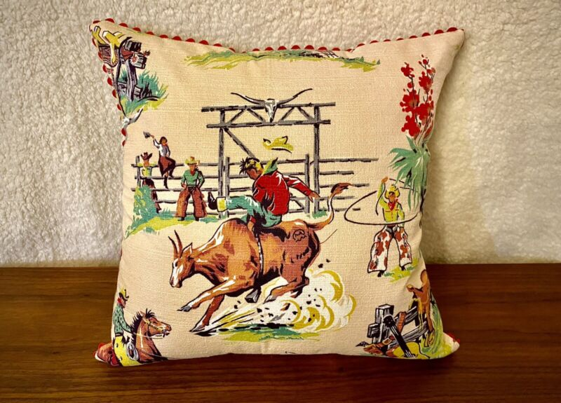 Vtg RODEO Barkcloth Pillow Cover midcentury COWBOY western COWGIRL southwest