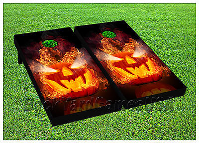VINYL WRAPS Cornhole Boards DECALS Scary Pumpkin Bag Toss Game Stickers 701 - Pumpkin Toss Game