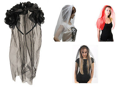 Ladies Black Veil with Flowers for Halloween Party Fancy Dress Costume Accessory (Halloween Costume With Black Dress)