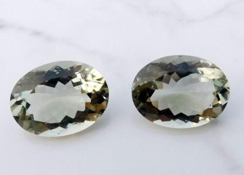 21.20 Cts 2 Pcs Natural Green Amethyst Oval Cut Loose Gemstone 13X18 MM H-2976