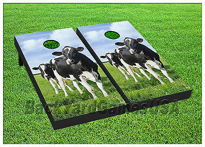 - Cow CORNHOLE BEANBAG TOSS GAME w Bags Game Boards Farming Farm Cow Animal 759