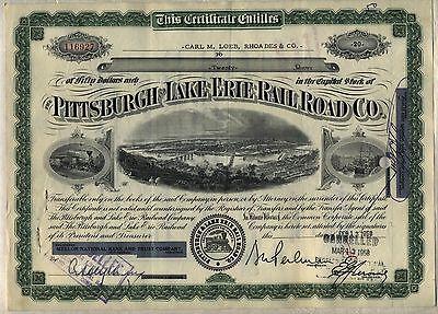 Pittsburgh & Lake Erie Railroad Company Stock Certificate Pennsylvania