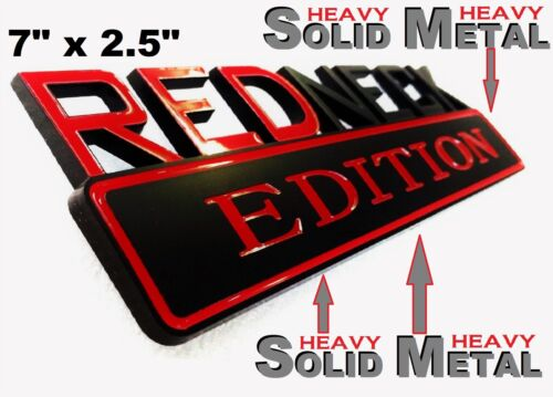 SOLID METAL Redneck Edition BEAUTIFUL EMBLEM Ford Truck Bumper Decal Badge