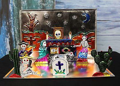 Portable Altar Mexican Pop Up Tin Dias de Los Muertos - Day of the Dead Folk Art