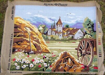Haystack  Rural Scene Vintage French Completed Needlepoint Tapestry 48 x 36 cm