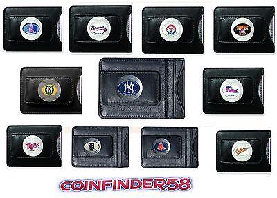 Fine Leather Money Clip Wallet [NEW] MLB Black Billfold - Pick (Leather Mlb Wallet)