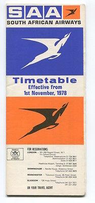 SOUTH AFRICAN AIRWAYS SAA TIMETABLE NOVEMBER 1978 SAL