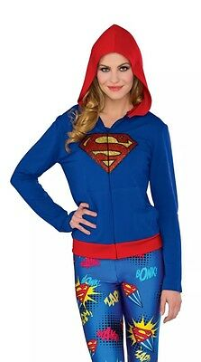 Women's Classic DC Comics Supergirl Fitted Hoodie Costume Medium-Large (6-14)](Supergirl Costumes For Women)