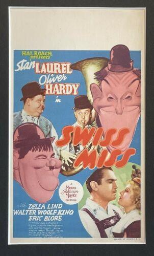 SWISS MISS (MGM 1938), LAUREL & HARDY MINI WINDOW CARD, AL HIRSCHFELD ART