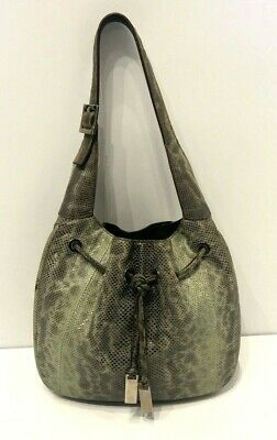 Gucci Vintage Green/Grey Ombre Snakeskin Karung Drawstring Bag 001-4034-2296