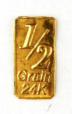 1/2 Gn(NOT GRAM)GOLD BAR OF 24K PURE .999 FINE GOLD STRATEGIC BULLION A2b