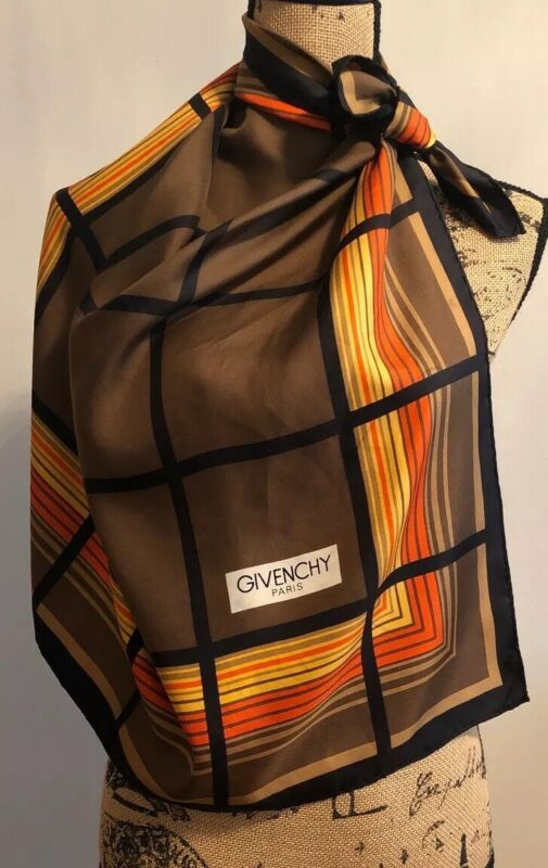 """Vintage Givenchy Paris 30"""" Square Silk Hand Rolled Hem Scarf SOIE Made in France"""