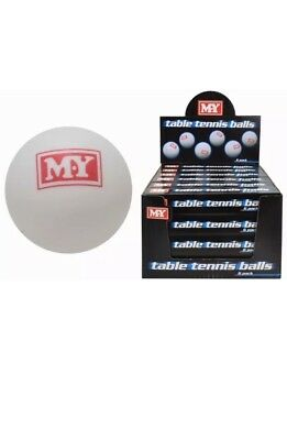 NEW GENUINE M.Y TABLE TENNIS BALLS PING PONG  WHITE 5PC IN PACK SPORTS GAMES FUN