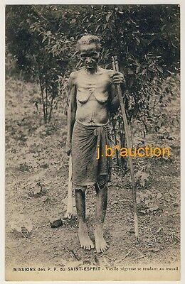 AFRICA SKINNY OLD WOMAN D NNE ALTE NACKTE FRAU VINTAGE 10S ETHNIC NUDE PC