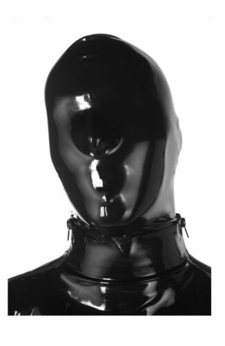 Latex Hood Mask with NOSE HOLES ONLY - BACK ZIP - BLACK - Made in UK / 1109Z