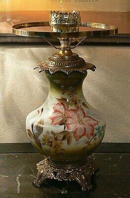 Antique Hand painted Floral GWTW Banquet Milk Glass Victorian Parlor Lamp base