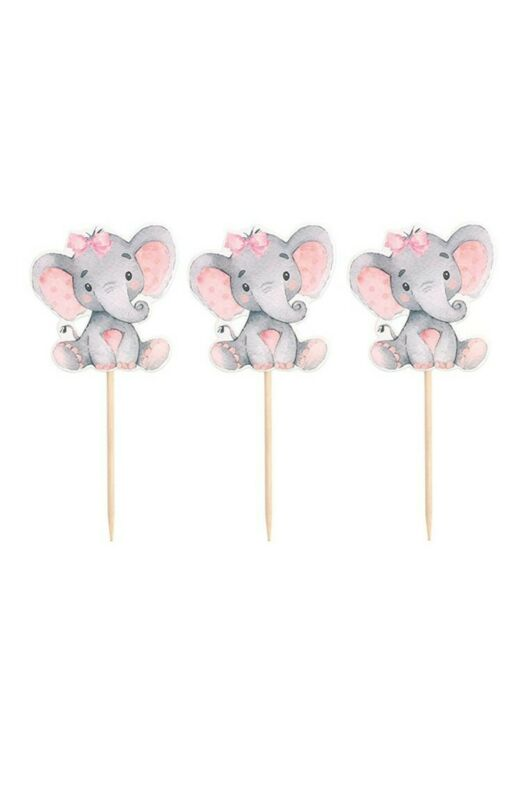 25 Pieces Pink Elephant Cupcake Toppers for Girl Baby Shower or Birthday party