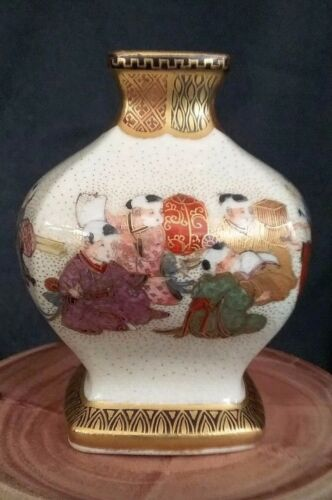 VINTAGE Miniature JAPANESE SATSUMA VASE 3 inches Tall  x 2 inches Wide