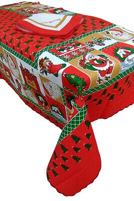 Tovaglia rettangolare Natalizia 8 posti con Tovaglioli Babbo Natale in cotone