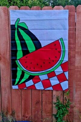 WATERMELON DECORATIVE GARDEN FLAG 28X40 100% NYLON WITH SEWN ELEMENTS VINTAGE