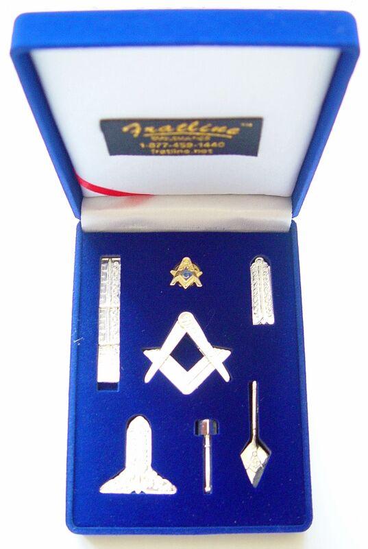 Masonic Mini Working Tool Gift Set with Lapel Pin (Bright Silver Finish)