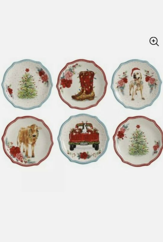 NEW! PIONEER WOMAN CHRISTMAS APPETIZER PLATES~SET OF 6 DIFFERENT PLATES