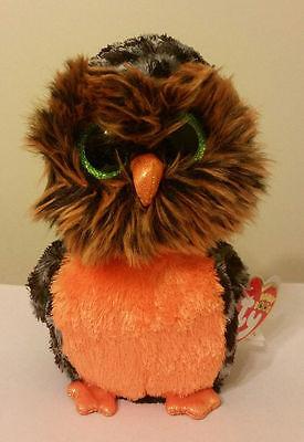 "Ty Beanie Boos ~ MIDNIGHT the 6"" Orange Owl ~ MWMT'S ~ 2015 NEW ~ IN HAND"